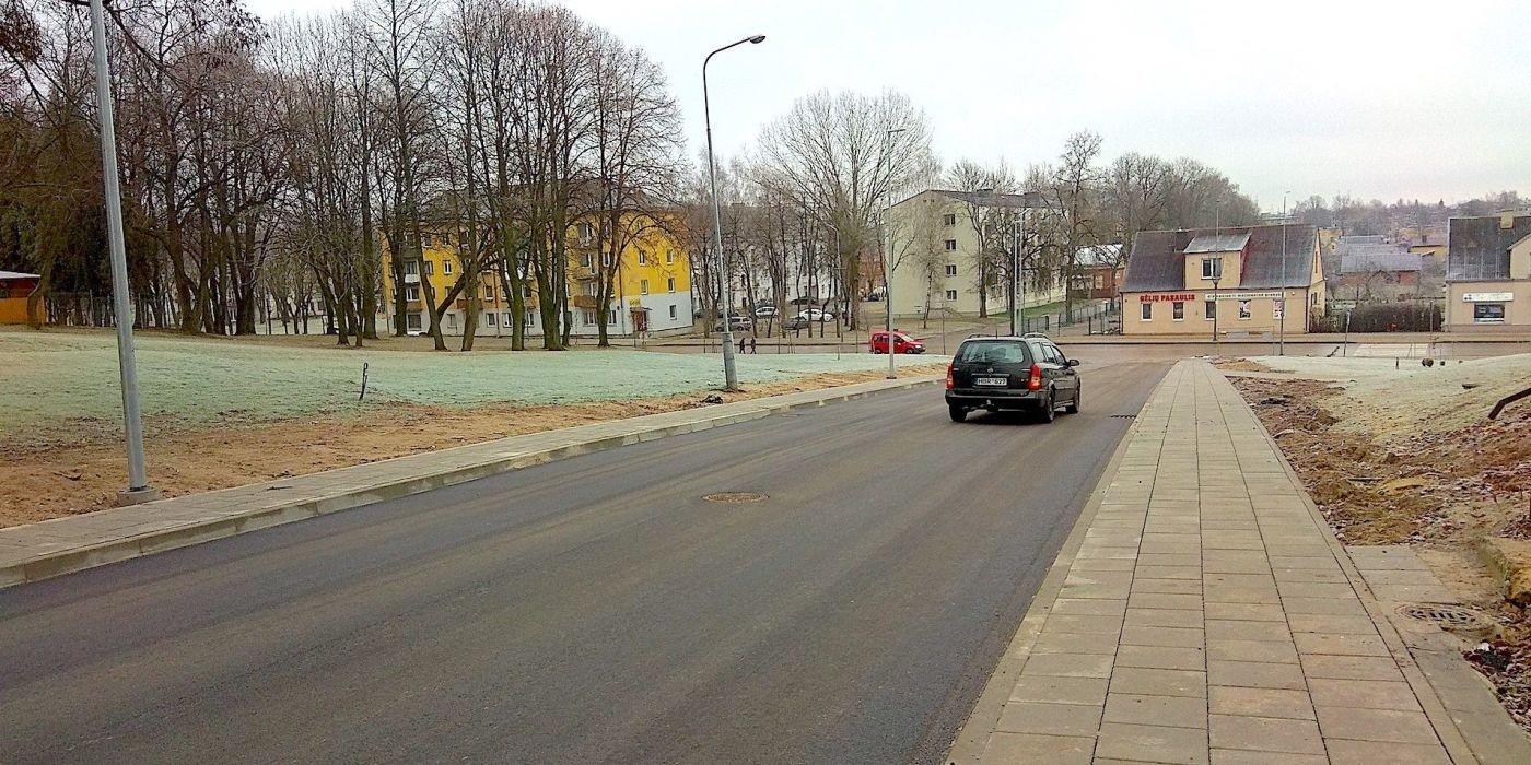 Dotnuvos gatvė. Šaligatvių įrengimo darbai Kėdainių mieste.